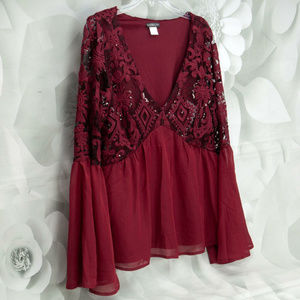 Venus Long-Sleeve Lace & Sequin Ruby Blouse Top